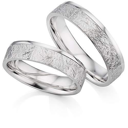 123traumringe 2x Trauringe/Eheringe Silber 925 in Juwelier-Qualität (Gravur/Ringmaßband/Etui/Nickelfrei)