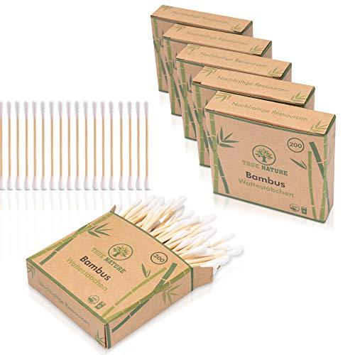 [1200 Stück] DERMATEST: SEHR GUT - TRUE NATURE® Bambus Wattestäbchen - Plastikfreie Ohrenstäbchen - Q Tips ohne Plastik - Cotton Buds - 100% biologisch abbaubar +Ebook