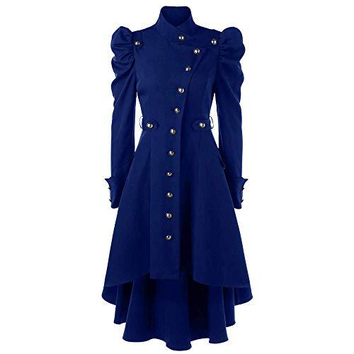 HaiDean Abrigo De Lana con Abrigo Mujer De Cuello Modernas Casual De Esmoquin Chaqueta Victoriana Gótica Chaqueta con Encaje Y Cordones Moda 2020 Ropa De Mujer (Color : Blau, One Size : XXL)