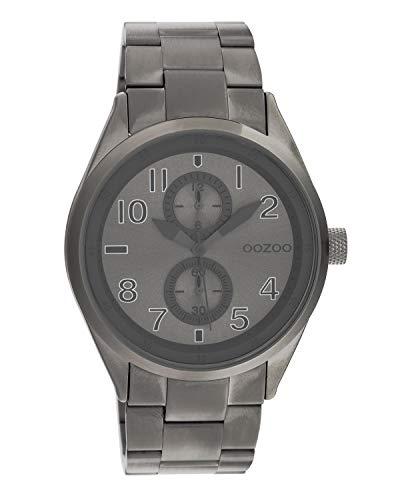 Oozoo C10633 - Orologio da polso unisex con cinturino in acciaio INOX, 42 mm, colore: Gunmetal