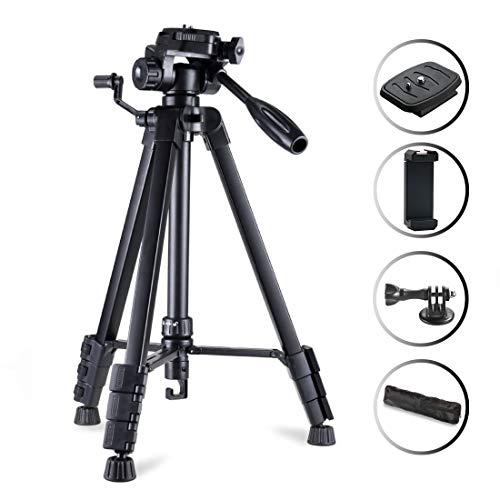 Phinistec 175cm Aluminium Dreibein Stativ Kamera für Handy, iPhone, DSLR, Kamera, Gopro mit Smartphone Halterung und Gopro Adapter mit Tragetasche