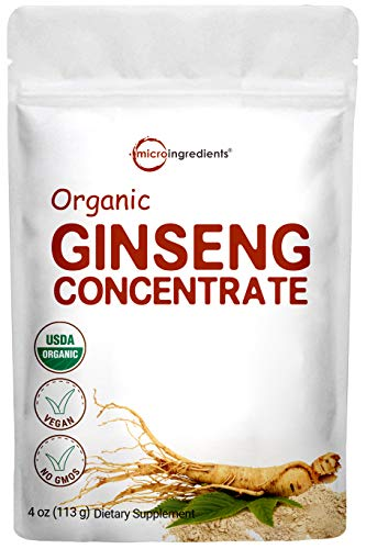 Maximum Strength Organic Korean Ginseng Root 200:1 Powder, 4 Ounce, Red Panax Ginseng Powder, Active Ginsenosides to Support Energy, Immune System, Mental Health & Physical Performance