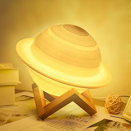 CoMokin Nuevo Lámpara de Luna 3D 16 Color LED Recargable Luz Saturno, 15cm Lampara Saturno con Soporte de Madera y red Colgante, Control Remoto y Control Táctil para Bebés, Amigos