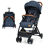 BABY JOY Lightweight Baby Stroller, Compact Toddler Travel Stroller for Airplane, Infant Stroller w/ 5-Point Harness, Adjustable Backrest/Footrest/Canopy, Storage Basket, Easy One-Hand Fold, Blue