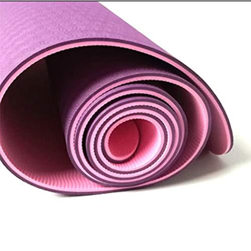 TPE rutschfest Yoga Matte, Hohe Dichte Robust Anti-rip-Material, Geeignet Für Männer Und Frauen Fitness Gymnastikmatte Mit Trageriemen -lila 183x61cm