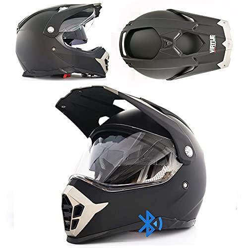 angroups Casco de Motocross Mujer Hombre Niño Adultos, Casco de Moto Bluetooth Integrado con Doble Anti Niebla Visera, ABS ECE, Casco Cross para Moto Off Road ATV Scooter, M(57~62cm)