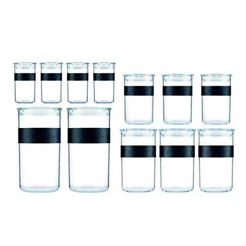Bodum PRESSO Vorratsgläser, Kunststoff, Schwarz, 4 x 0.25 l, 3 x 0.6 l, 3 x 1 l, 2 x 2 l