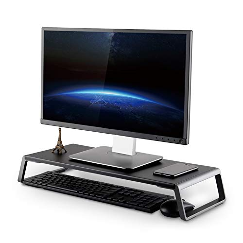 ThingyClub Monitor Stand Riser with Metal Feet for Computer Laptop iMac TV LCD Display Printer, Computer Monitor Riser with Desk Tabletop Organizer 20x9.45inch Sturdy Platform Save Space (Black)