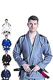 Kimono Vector Attila Series de Jiu Jitsu con cinturón Blanco, Ligero, 100% algodón, A0, Azul