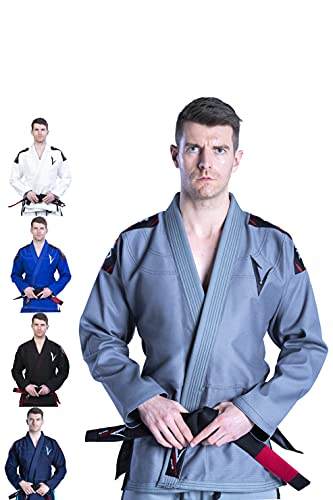 Kimono Vector Attila Series de Jiu Jitsu con cinturón blanco, ligero, 100% algodón, A3, Negro