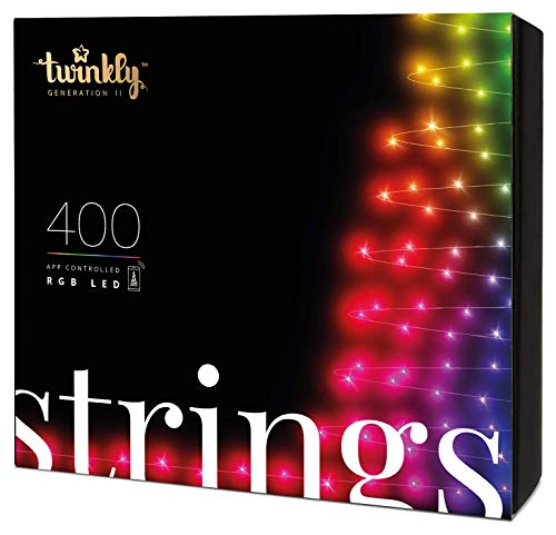 Twinkly - TWS400STP 400 RGB Multicolor LED String Lights - App-Controlled LED Christmas Lights with Green Cable (105ft) - IoT & Razer Chroma Enabled - Indoor/Outdoor Party Decorations