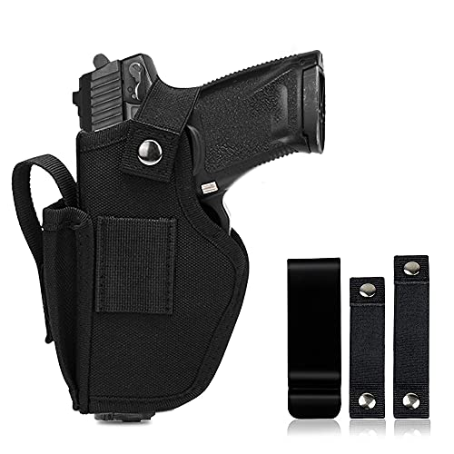 9mm Holsters Pistols for Men/Women, Universal Waistband Concealed Gun Holster with Mag Pouch for Pistols Right/Left Hand, Fits IWB/OWB 9mm Glock 27, M&P Shield 9mm, and Similar Handgun