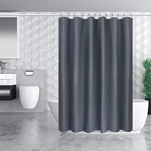 Carttiya Duschvorhang - [180x180cm] Anti-schimmel Badewannenvorhang, Eva Badewanne Vorhang mit 12 Metallösen und Edelstahlhaken, Nicht Gerüche, BPA-frei, Wasserdicht, Antibakteriell (Dunkelgrau)