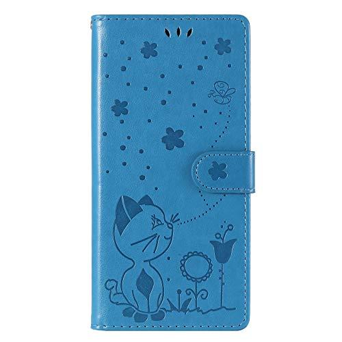 NEINEI Funda para OPPO A5 2020/A9 2020,Diseño de Patrón de Gato y Abeja en Billetera Carcasa de Cuero con [Cierre Magnético][Ranura para Tarjeta],PU/TPU Flip Case Cover,Azul