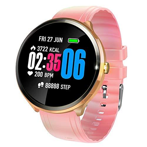 V12 Smartwatch mit farbigem Touch-Screen und Herzfrequenz-Sensor Leichte Fitness Uhr mit Push-Erinnerung SMS-Alert-Push, Bewegungsaufzeichnungen (Schritt, Kilometerstand), Schlafüberwachung (Rosa)