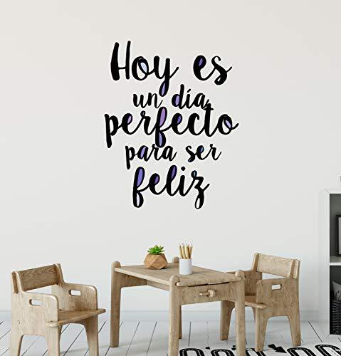 Inspiring Saying for Kids CG1061 Sticker mural en vinyle pour salle de jeux Motif Hoy ES Un Dia Perfecto Noir