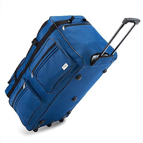 Deuba Bolsa de Viaje XXL 85x43x44 Maleta Azul 160L con 3 Ruedas y Candado Mango telescópico extraíble Bolso Deportivo