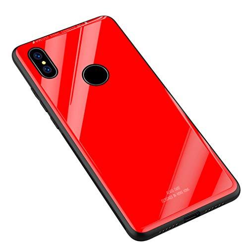 Kepuch Quartz Case Capas TPU &Voltar (Vidro Temperado) para Xiaomi Redmi 6 Pro/Xiaomi Mi A2 Lite - Vermelho