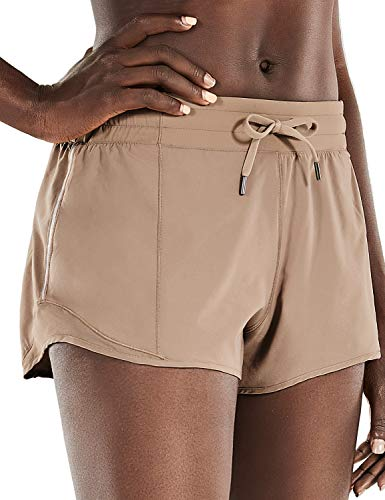 CRZ YOGA Quick-Dry Loose Running Shorts Sports Workout Shorts for Women Gym Athletic Shorts with Pocket - 2.5 Inches Mineral Brown - 2.5'' Small