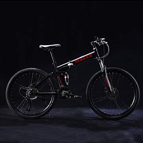 Bicicleta Plegable, 24 Pulgadas Bicicleta Juvenil, 21 Velocidades Bicicleta, Bici para NiñOs Y NiñAs, Montar Al Aire Libre Estudiantes Adultos Varones Y Mujeres Marco De Acero De Alto Carbono