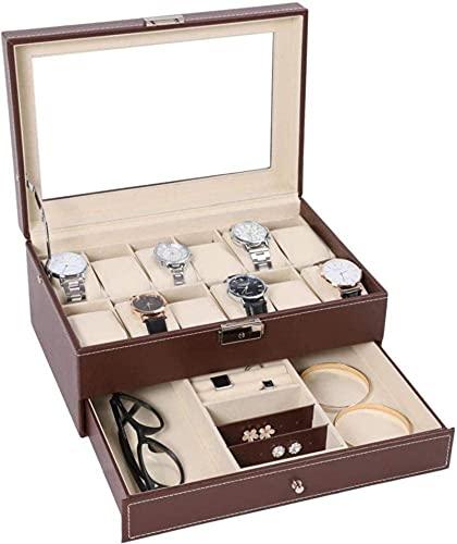 Caja del reloj, 12 ranura PU Cuero Mens Watch Box Organizer con caja de pantalla de bloqueo de llaves con vidrio real, marrón