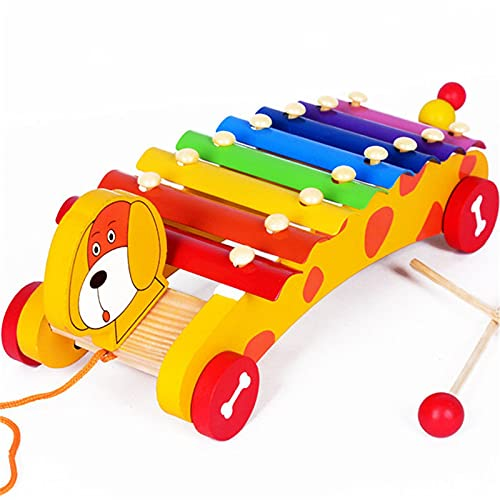 Yamyannie Xilófono Madera niños xilófono clásico Juguete Musical Juguete Juguete Instrumento Musical Coche xilófono Instrumento de Percusión (Color : Yellow, Size : One Size)