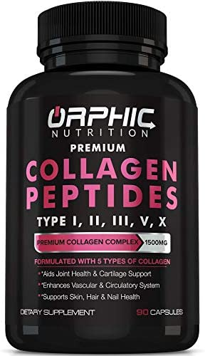 Premium Collagen Peptides Capsules 1500mg Types I II III V X Promotes Hair Skin and Nail Health product image