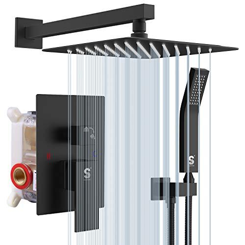 SR SUN RISE Matte Black Shower System 10 Inches Brass...