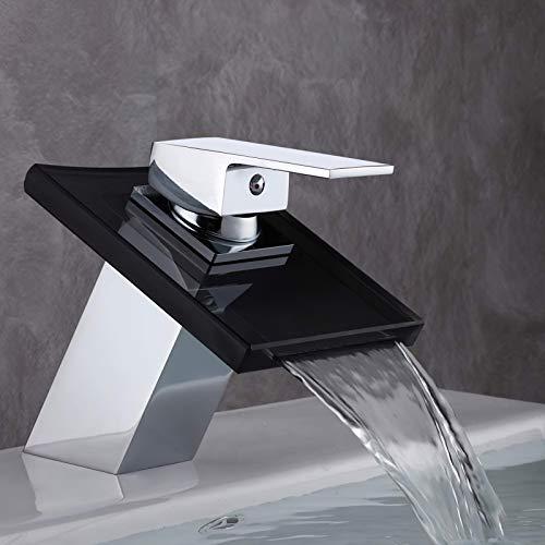 GAVAER Wasserhahn Bad, Wasserfall Glas-Auslauf Einhebelmischer Waschtischarmatur für Bad Badezimmer Waschbecken, Bad Armatur, Massivem Messing, Verchromung Prozess.