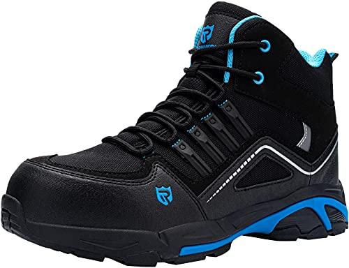 Zapatos de Seguridad Hombre Botas,S3 Zapatillas de Seguridad Antideslizantes con Punta de Acero Antipinchazos Calzados de Trabajo 42,Negro Azul
