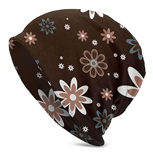 Cute Pillow Brown Floral Abstracto Flores Mujeres Ponytail Beanie Sombrero de punto Invierno Cálido Desordenado Bun Hat Cap Stretch Crochet Hecho a Mano Beanie para Mujeres Señoras