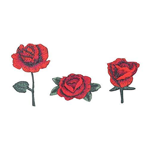 SuperiorParts Patches zum Aufbügeln Rote Rose 3 Stück Bestickte Patches Sticker Selbstklebend Gestickte Aufnäher Applikation für DIY Kleidung Jeans T-Shirt Jacken Rucksäcke (Kombination Rote Rosen)