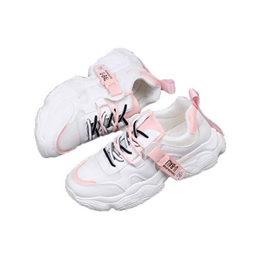 DogensHonz Zapatos vulcanizados de Malla de Encaje para Mujeres más tamaños Zapatillas Deportivas Transpirables Pink 38