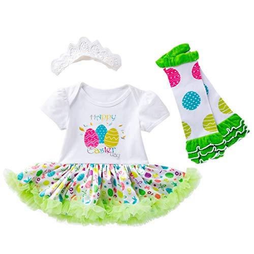 YWLINK MäDchen Prinzessin Mesh Patchwork Easter Eggs Tutu Dress Outfits Set 3PCS Kleinkind Neugeborenes Baby MäDchen Kleider Festlich Kurze ÄRmel Kleiden Set(Weiß,73)