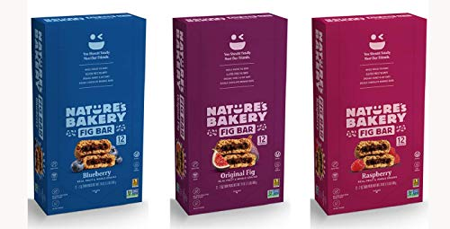 Variety Bundle: Nature's Bakery Whole Wheat Fig Bars in Blueberry, Original Fig, and Raspberry
