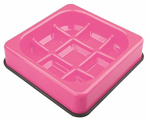M-PETS Waffle Slow Feed Bowl Pink pour Chien Rose