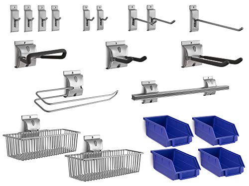 NewAge Products 20-Piece Steel Slatwall Accessory Kit, Garage Wall Organisers, 51721
