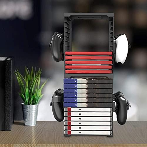 Watermelon Spielkarten-Aufbewahrungsständer für PS5, PS4, Xbox Spiele, Speicherturm -24 CD Game Disk Tower, VR/Headset-Aufhänger und vertikaler Ständer für PSVR