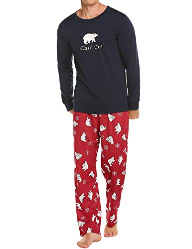 Ekouaer Christmas Pajamas Mens Soft Cotton Long Sleeve Pullover and Pants Sleepwear Pjs Lounge Set(Navy,M)