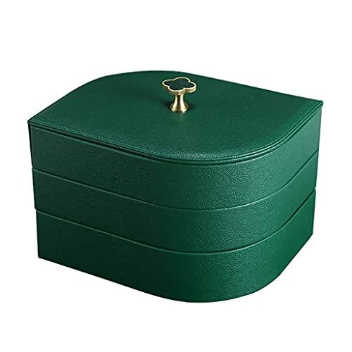 TEAYASON Joyero con Tapa Mango de Latón Caja Organizadora de Joyas de 3 Capas en Forma de Hoja Estuche de Cuero de Alta Gama para Joyas (Verde, Blanco),Verde