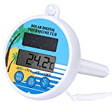 Bearbro Swimming Pool Floating Solar Thermometer with LCD Display, Digital Water Thermometer with String, for Outdoor Indoor Pools Spas Hot Tubs
