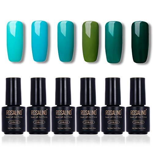 ROSALIND Esmalte de uñas Color verde Serie Vernis Semi-permanente Base Base Esmalte 6 paquetes 7 ml