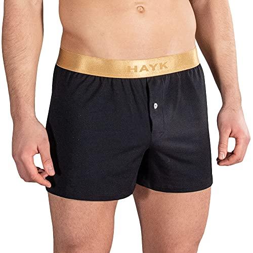 HAYK Classic Boxershorts - Herren Boxer Short aus Baumwolle Unterhose für Männer (Schwarz, XXL)