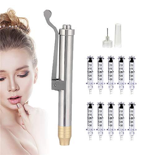 JSBVM Hyaluron Pen con 10 Piezas Ampolla Cabeza (0.3ml), Pluma de Inyección de Hialuron para Anti Arrugas Lifting Relleno De Labios (Un Solo Tiro)