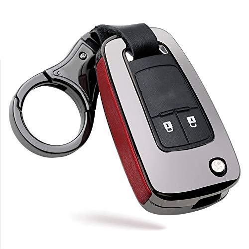 ontto Autoschlüssel Hülle Cover für Opel Astra Corsa Insignia Karl Mokka Zafira Meriva Chevrolet Camaro Cruze Volt Schlüsselhülle Schlüsselanhänger Zinklegierung Schlüssel Schutz Etui Case-Schwarz rot