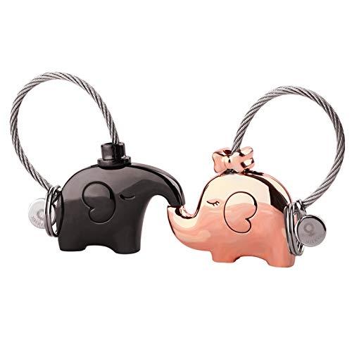MILESI Original Fantastic Kissing Elephant Couples Keychains Birthday Anniversary Gifts Cute Charm Set Couple Gift(black-gold)