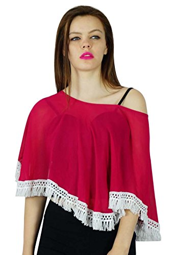 Bimba Frauen Rosa benutzerdefinierte Pocho Top Sheer Georgette Coverup Bluse