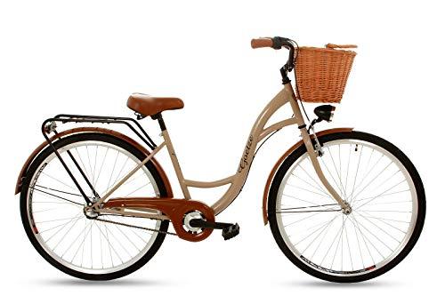 Goetze Classic Vintage Citybike Hollandrad Damenfahrrad Stahl Gestell Tiefeinsteiger 28 Zoll Alu Räder mit Rücktrittbremsen 3 Gang Shimano Nexus Nabenschaltung Weiden Korb Inklusiv!