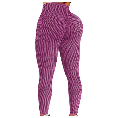 Workout Leggings for Women High Waisted Butt Lifting Yoga Pants Textured Tights Tummy Control Trousers Pink