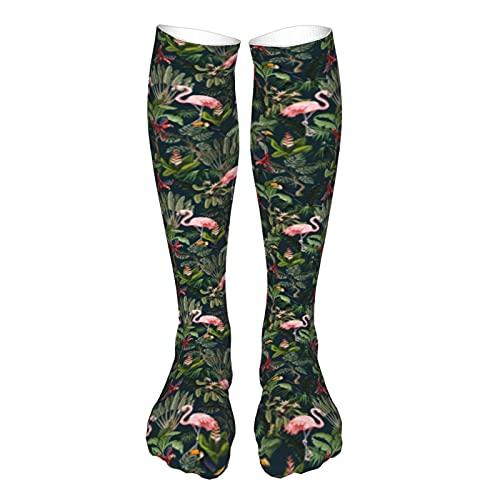 Calcetines largos atléticos hasta la rodilla de la selva animales flores y árboles divertidos coloridos ocasionales patrones de compresión calcetines